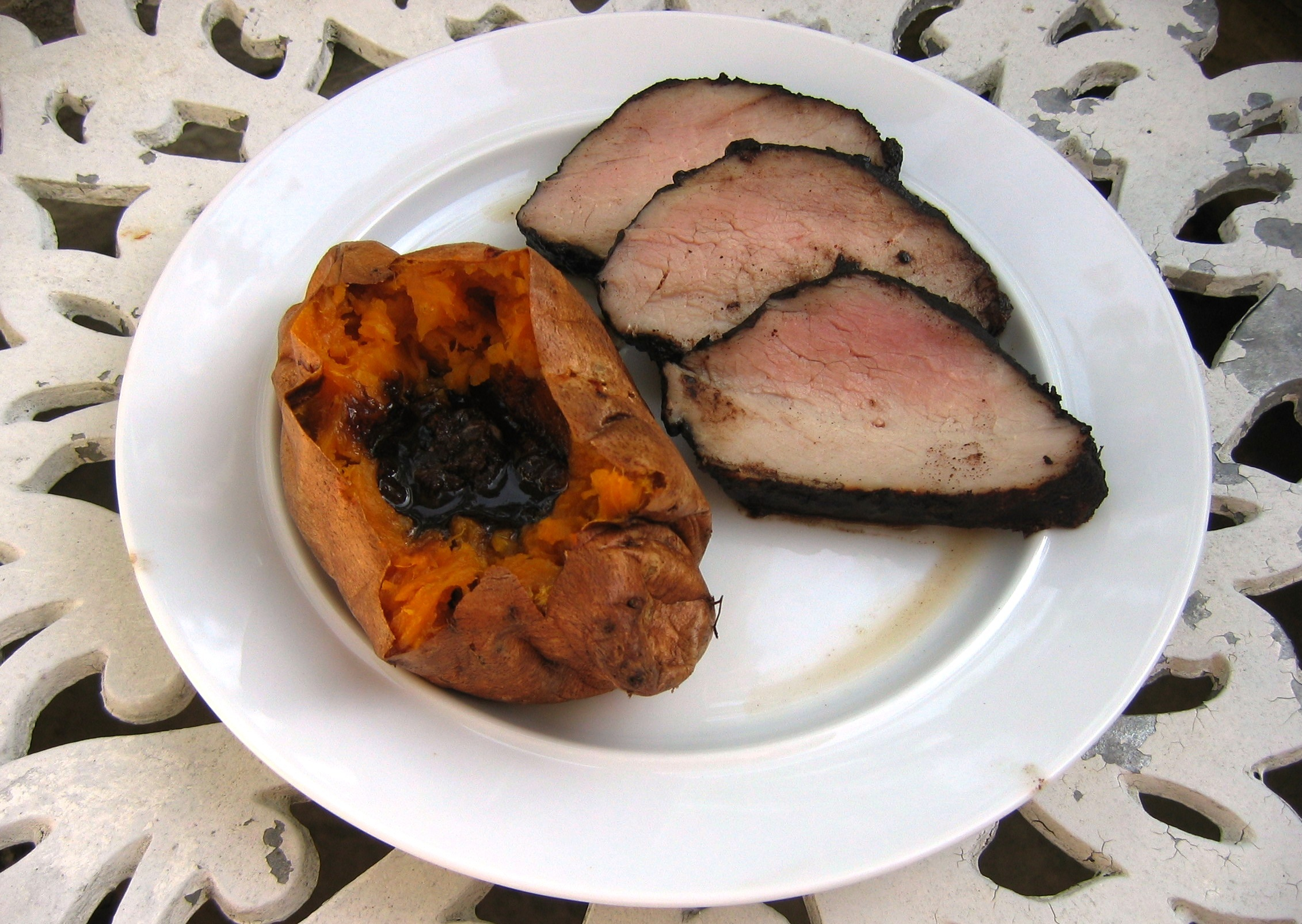 Spicy Mocha Pork Tenderloin with Baked Sweet Potato