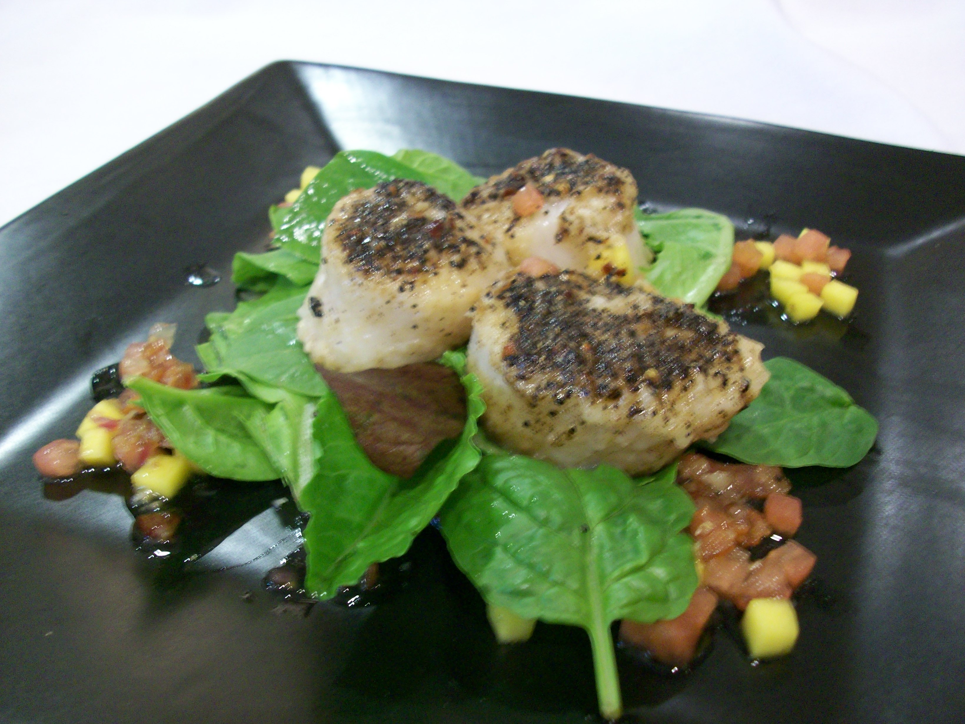 Espresso Crusted Scallops over Wilted Baby Spinach