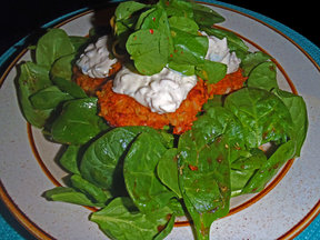 Rustic Smoked Salmon Cakes on Salad Greens with Garlic Tartar Sauce &amp; Lemony Watercress