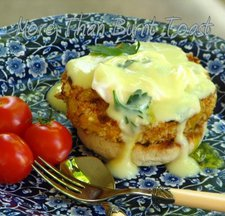 Crab Cake Eggs Benedict with Avgolemono Sauce