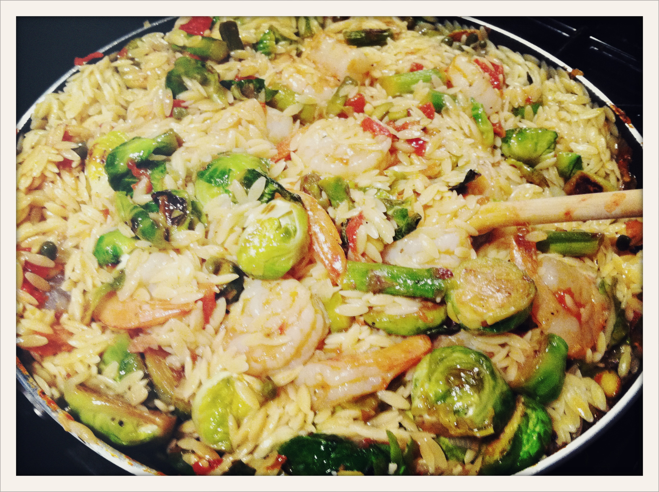 Lemon Orzo Pasta with Brussels Sprouts and Shrimp