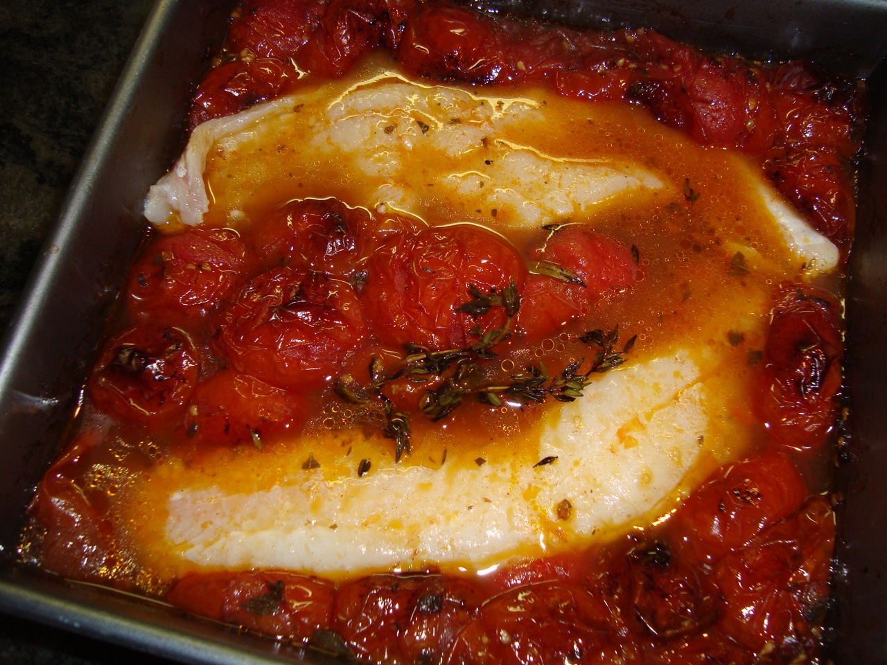 Fish Fillets (Cod, Haddock, Pollack - You Name It -  in Roasted Tomato Broth