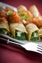 spinach-feta crepes with tomato coulis