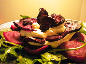 BEET IT! Beet, Herbed Cheese, &amp; Arugula Salad