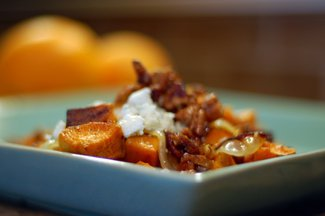 Cider Glazed-Sweet Potatoes with Bacon, Pecans and Blue Cheese