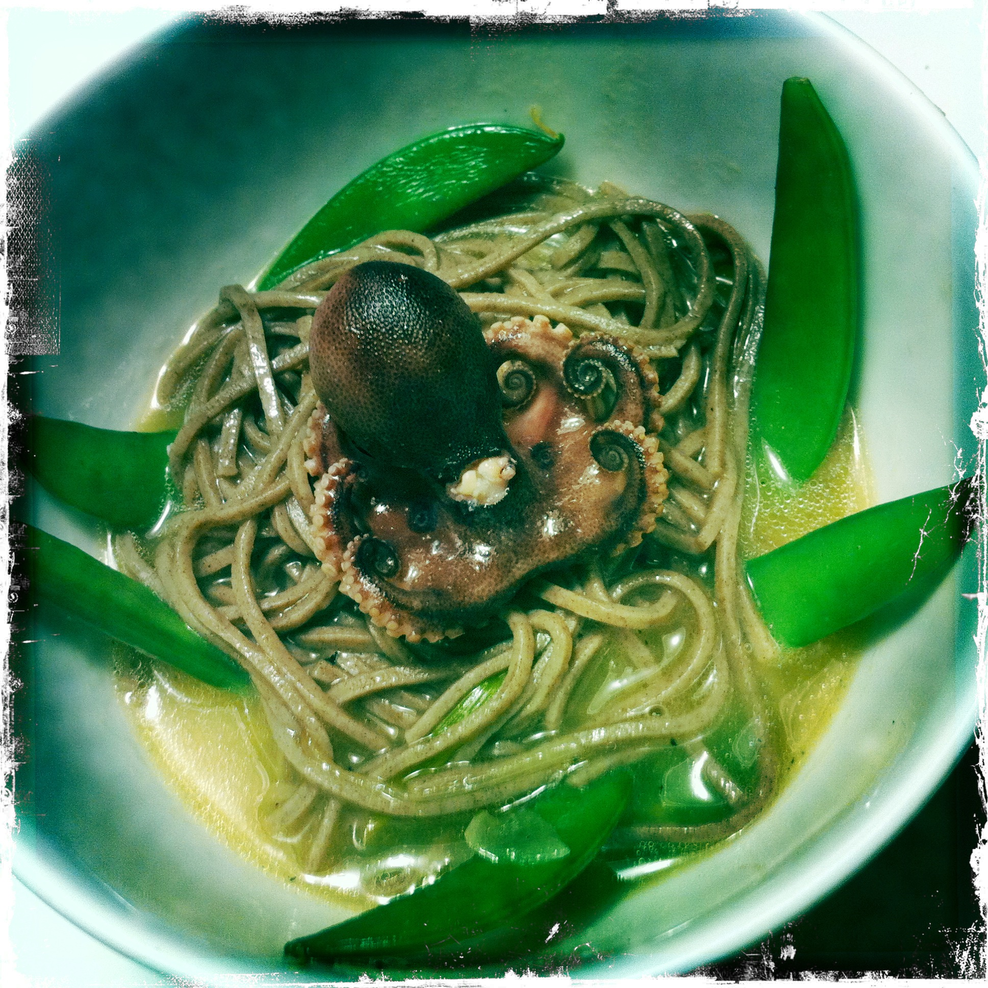 Baby Octopus in a Nest of Soba Noodles and Snippy Snap Peas