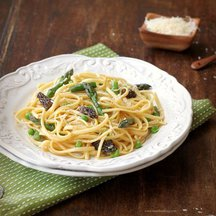Linguine with Asparagus, Morels and Fava Beans