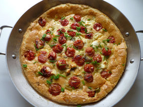 Leek and Cherry Tomato Clafouti