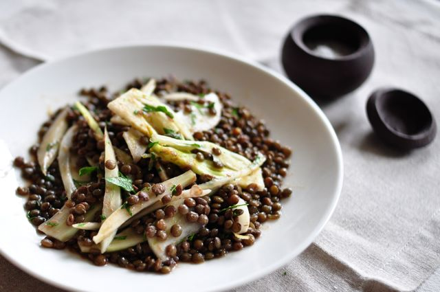 Lentil and fennel salad with parsley