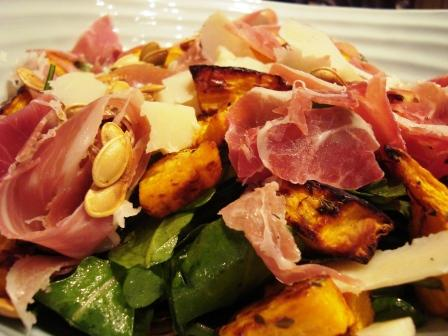 Roasted pumpkin, Serrano ham &amp; Manchego cheese autumn salad