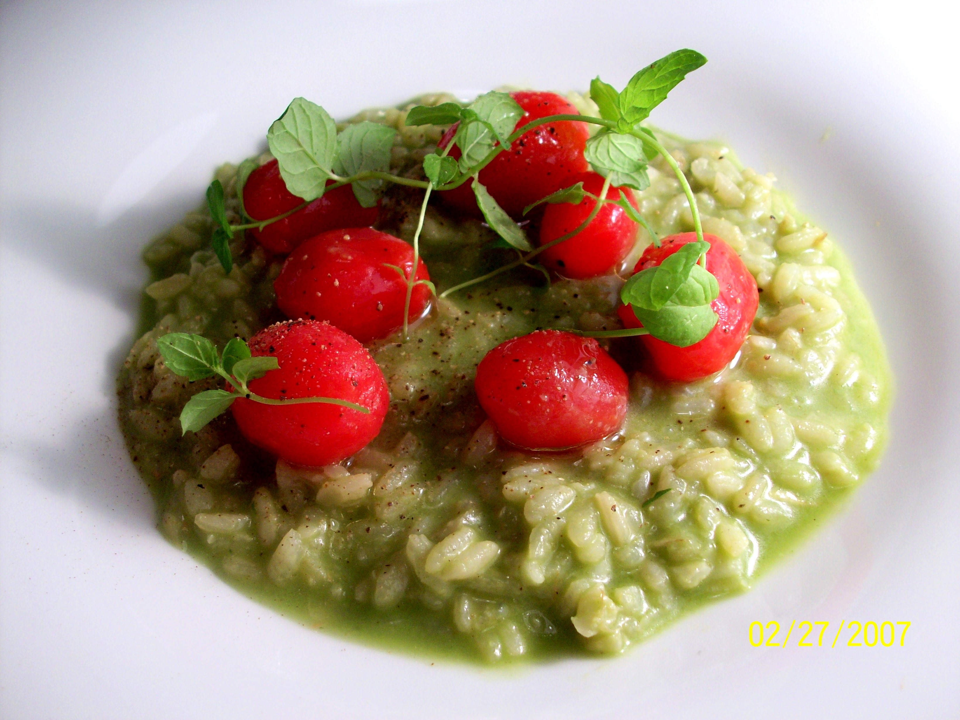 Avocado Risotto with Cherry Tomatoes and Mint