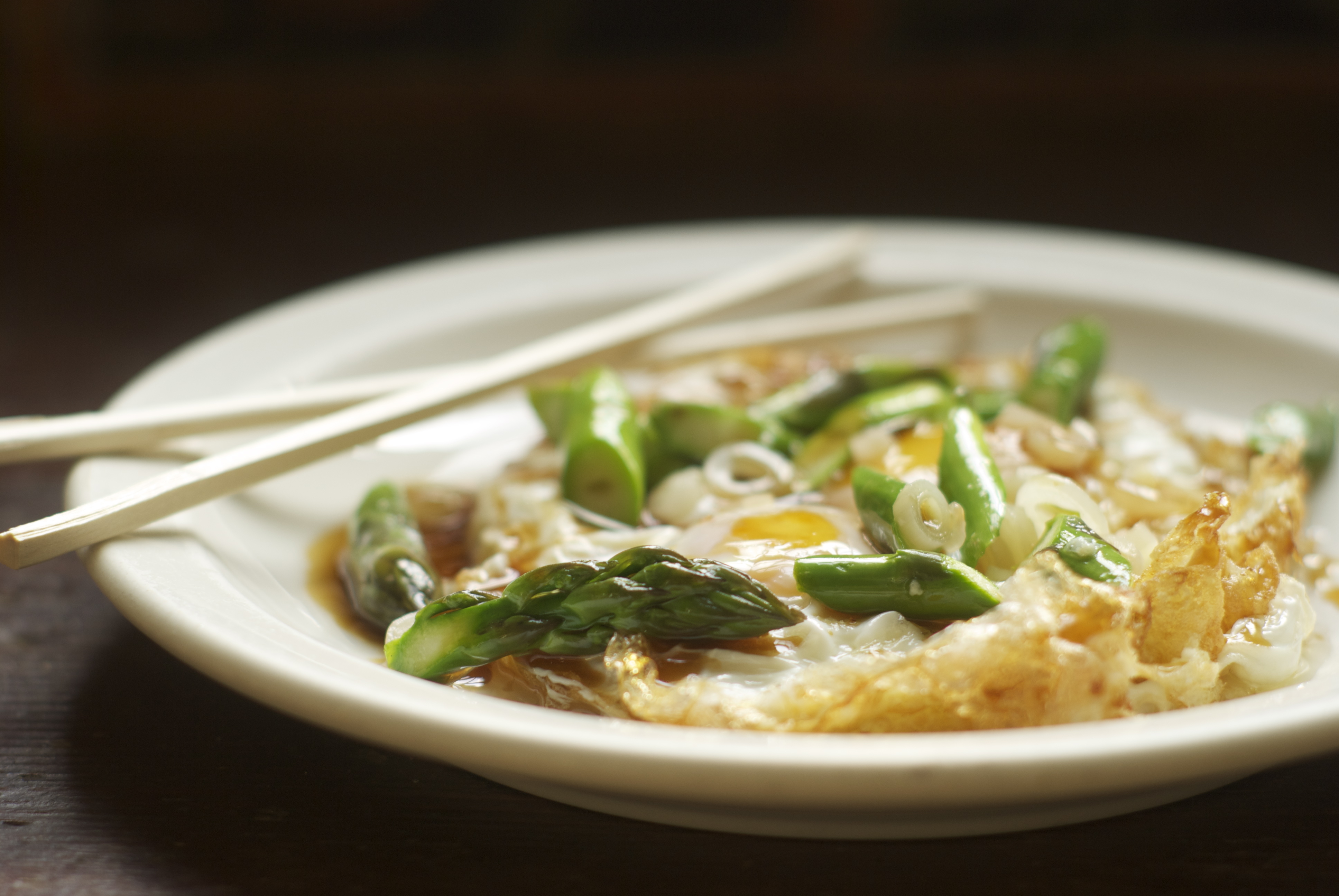 Fried Eggs with Asparagus, Ramps, and Oyster Sauce