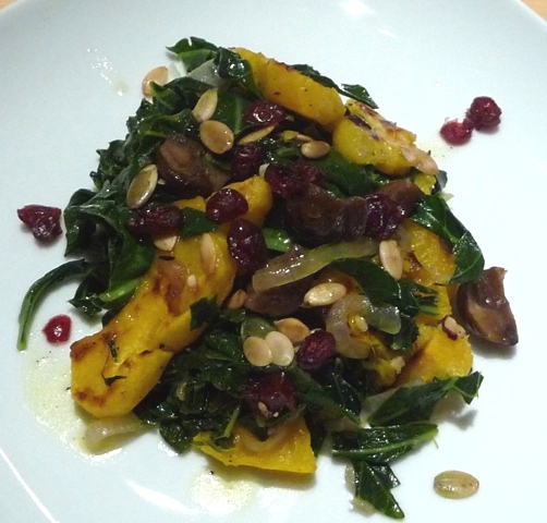 Warm Salad of Squash, Chestnuts and Collard Greens