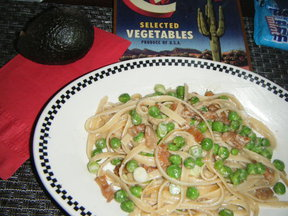 Garden Pail Fettucine with Peas and Pig