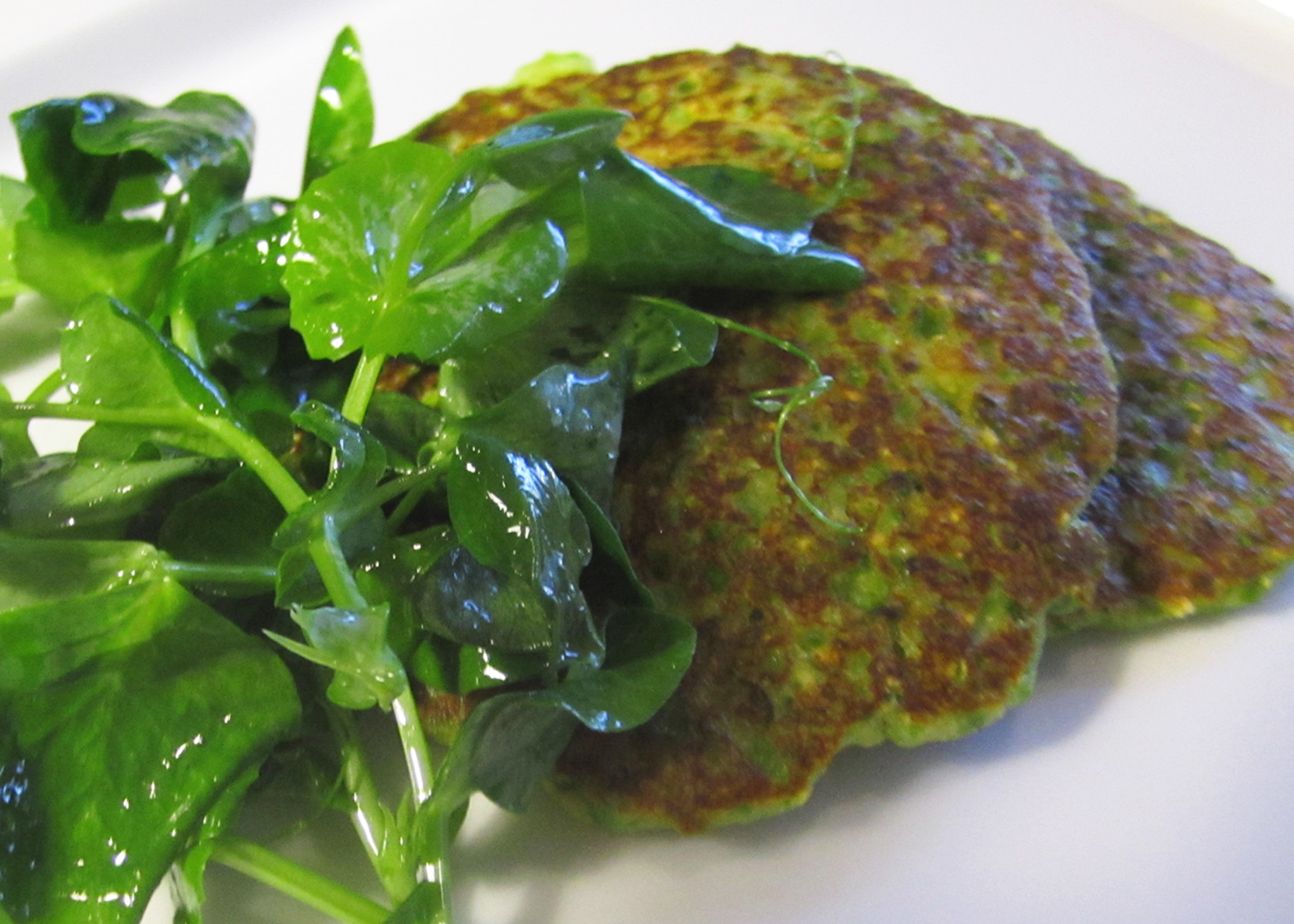 Spring Pea and Crab Pancakes with Pea Tendril Salad