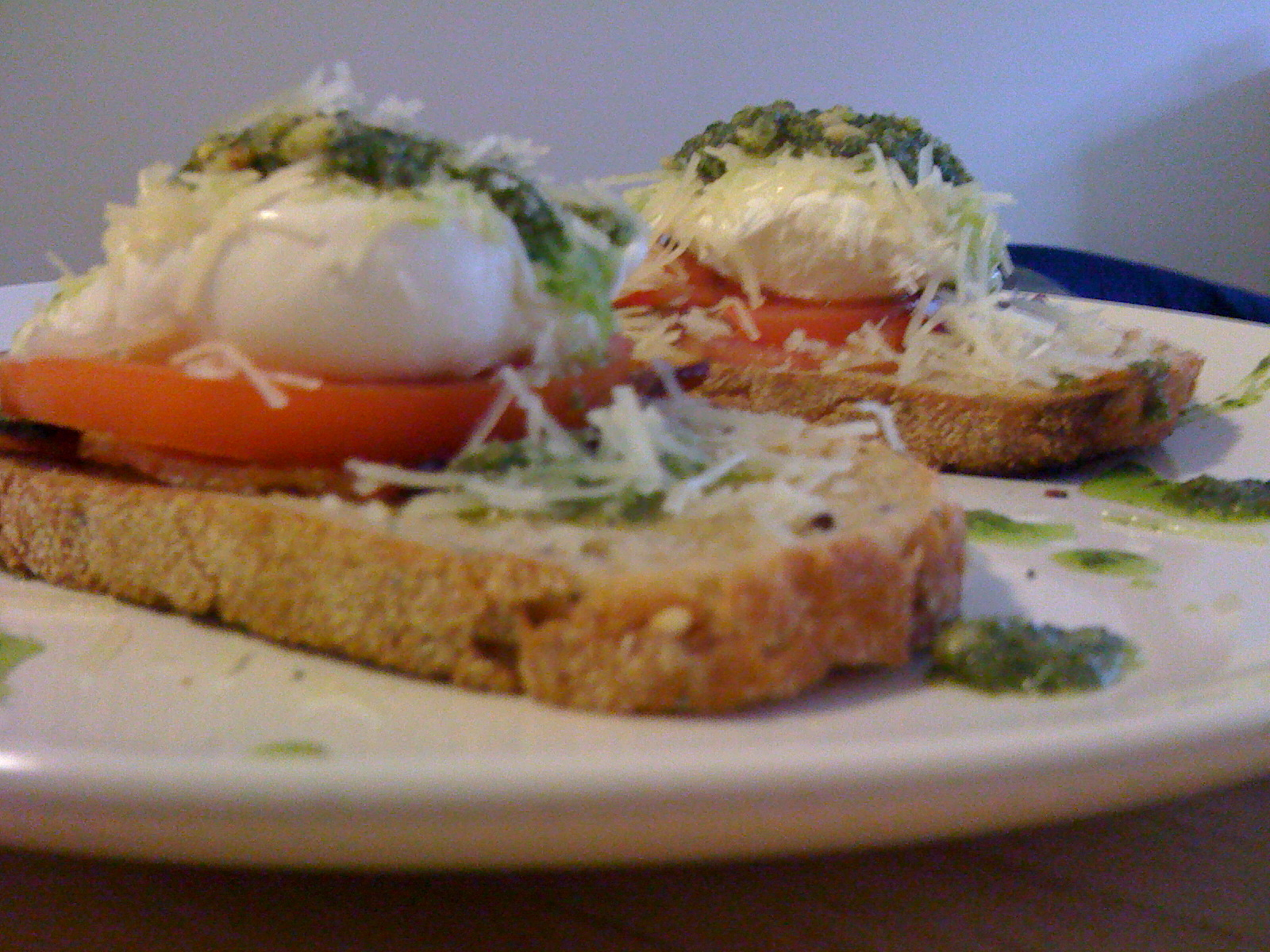 Pesto Poached Egg Stacks