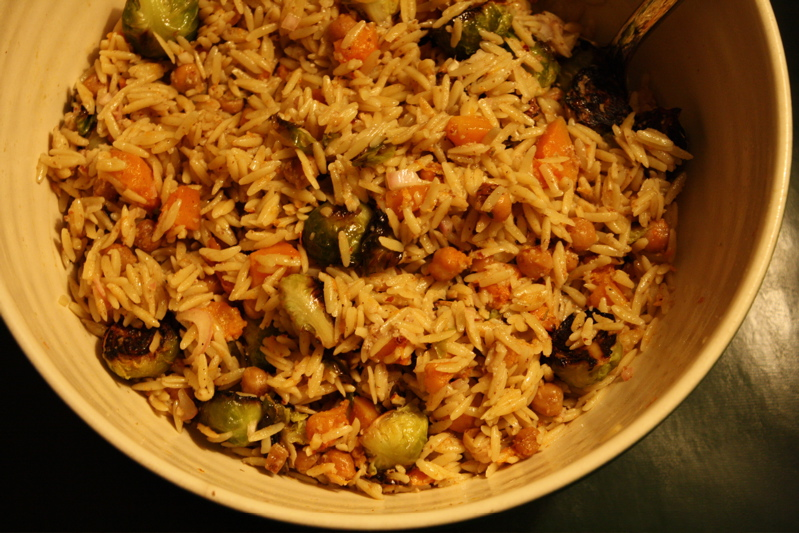 Squash &amp; Sprout Orzo Salad with Ginger-Walnut Dressing