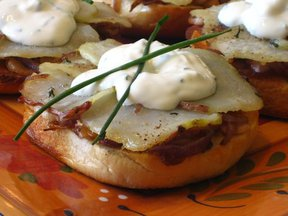 Bagel &#x27;Pizzas&#x27; with Caramelized onions, Roasted Potatoes &amp; Herbs topped with a faux Goat Cheese Creme Frache