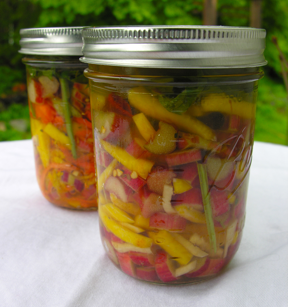 Stone Pickled Ginger Rhubarb