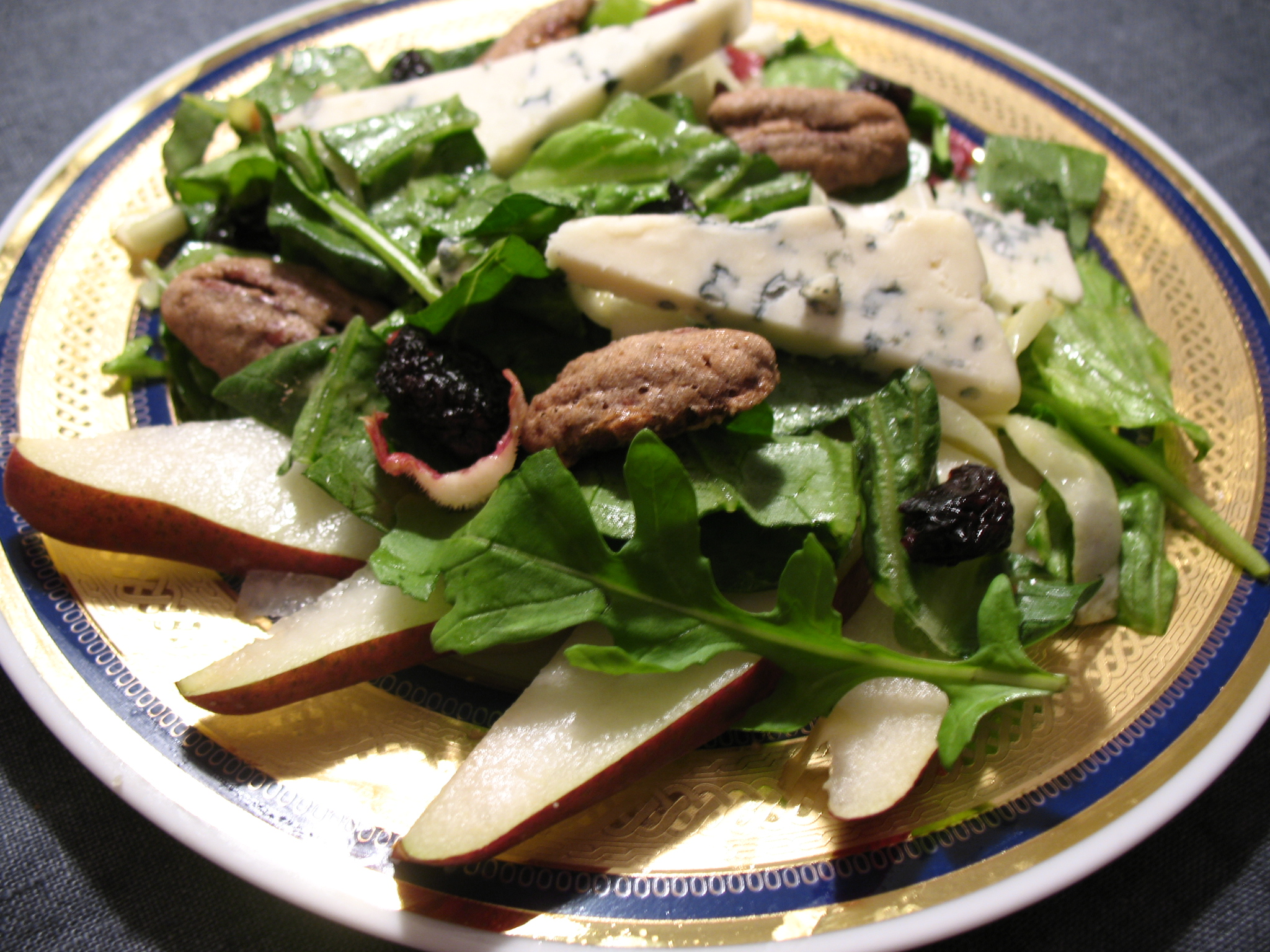 Autumn Greens with Gorgonzola, Spiced Pecans, and Roasted Garlic and Shallots Honey Mustard Dressing