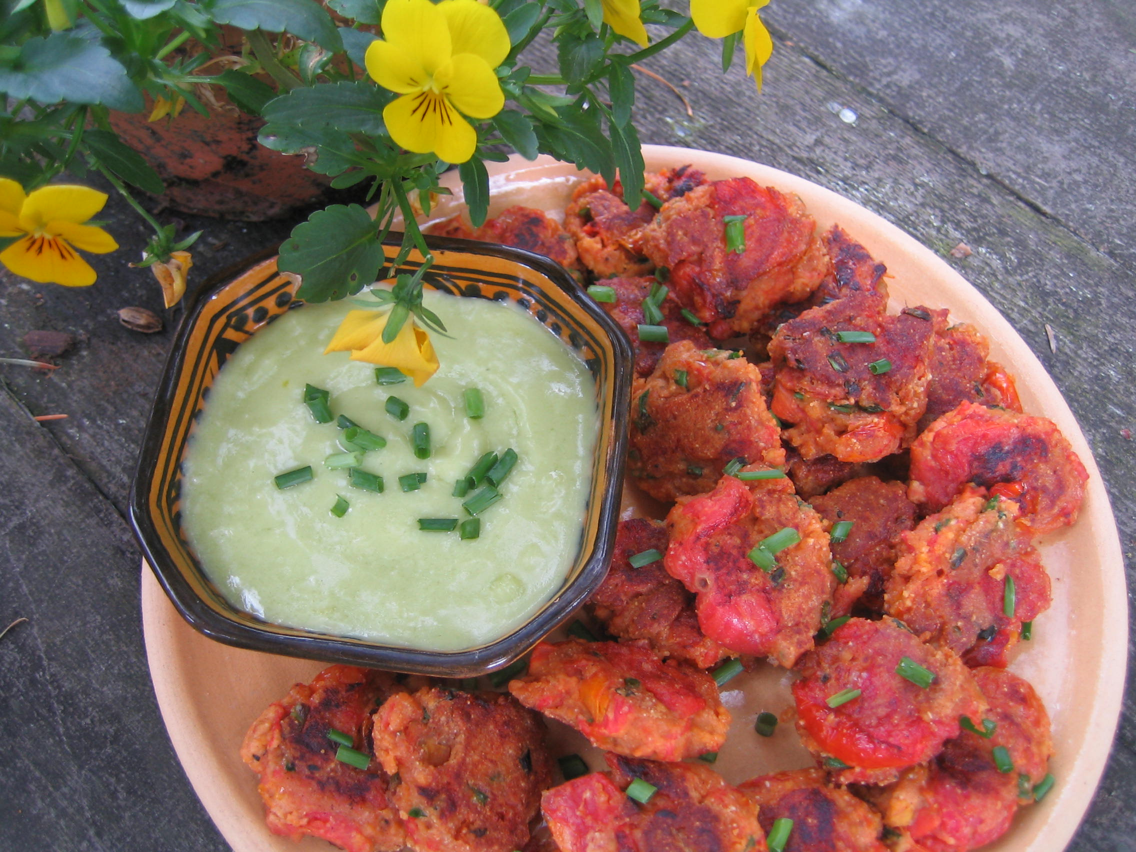 Roasted Tomato Fritters with Aioli