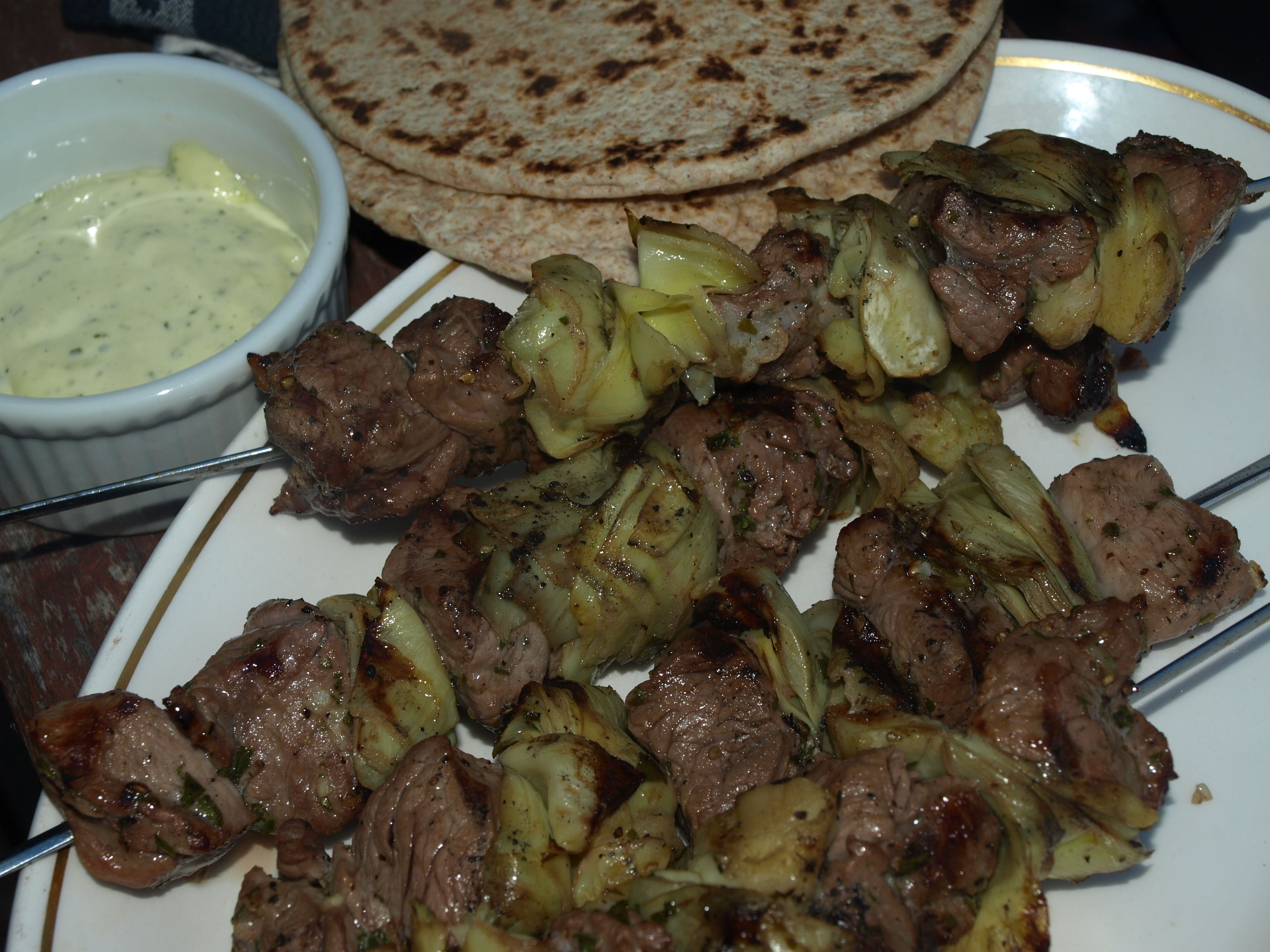 Lamb & Artichoke Kebabs with Minted Lemon Aioli