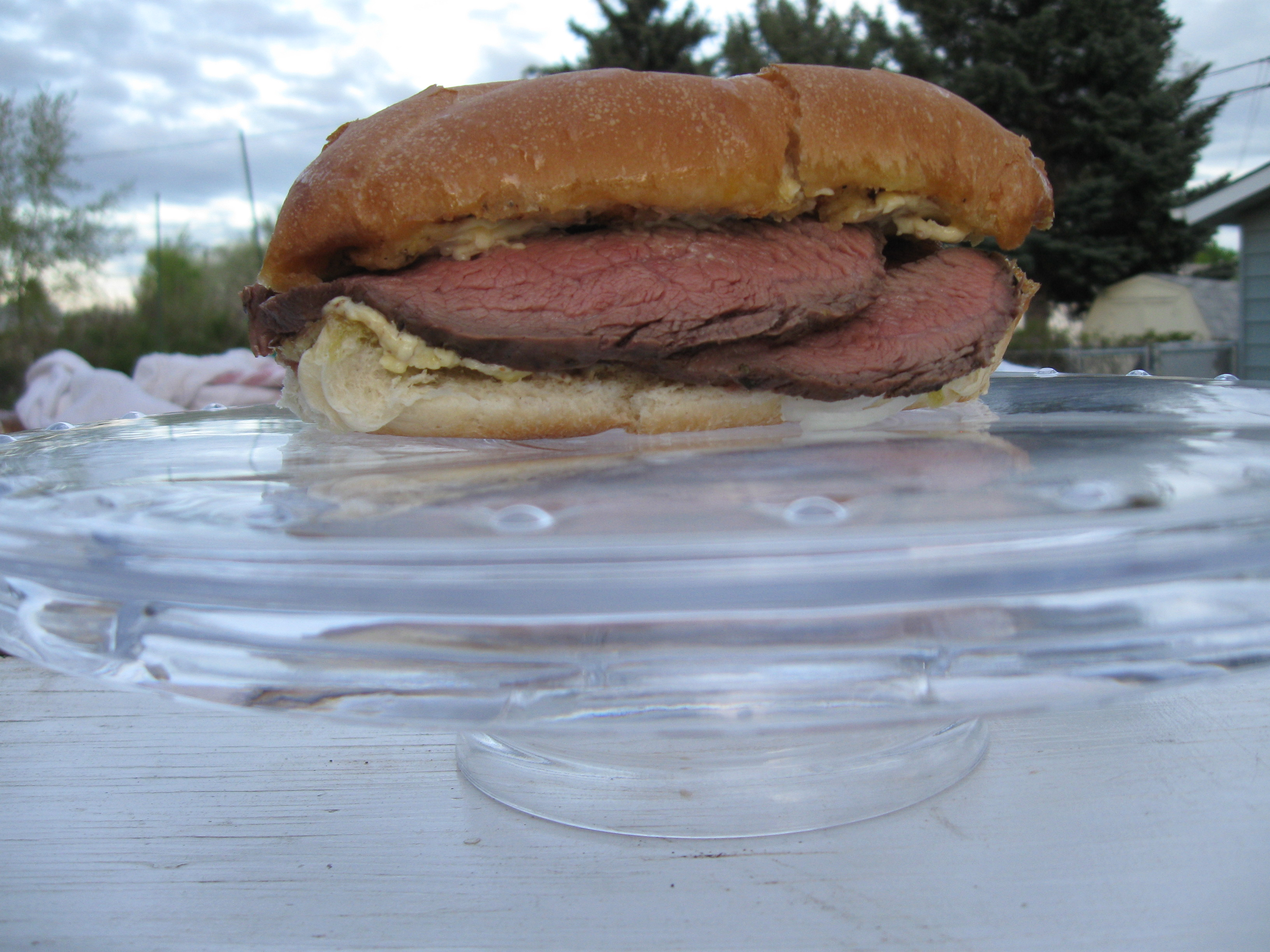 Steak Sandwich with Roasted Garlic Aïoli Worthy of a Pedestal (With Caesar Salad Waiting in the Wings)
