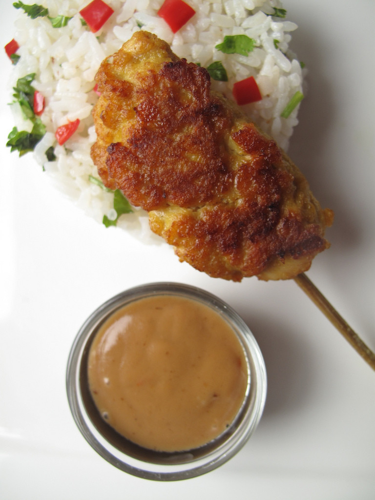 Peanut Butter Aioli with 'Thai' Chicken Satays