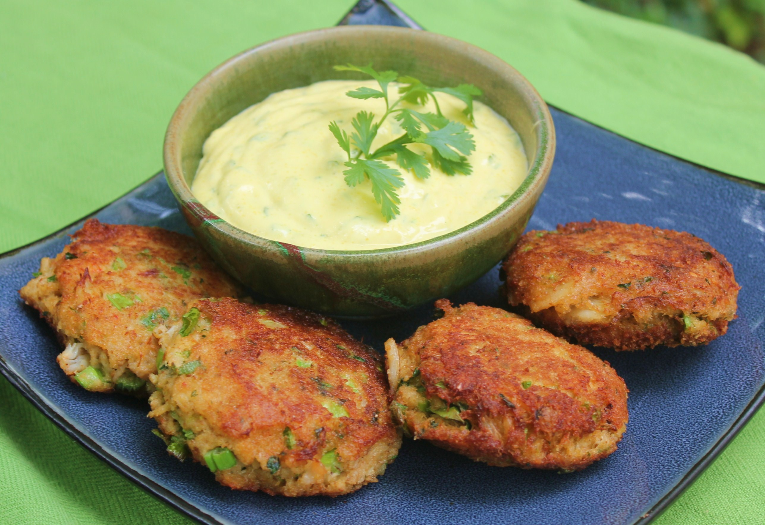Wasabi Cilantro Aioli with Ginger Crab Cakes Recipe on Food52