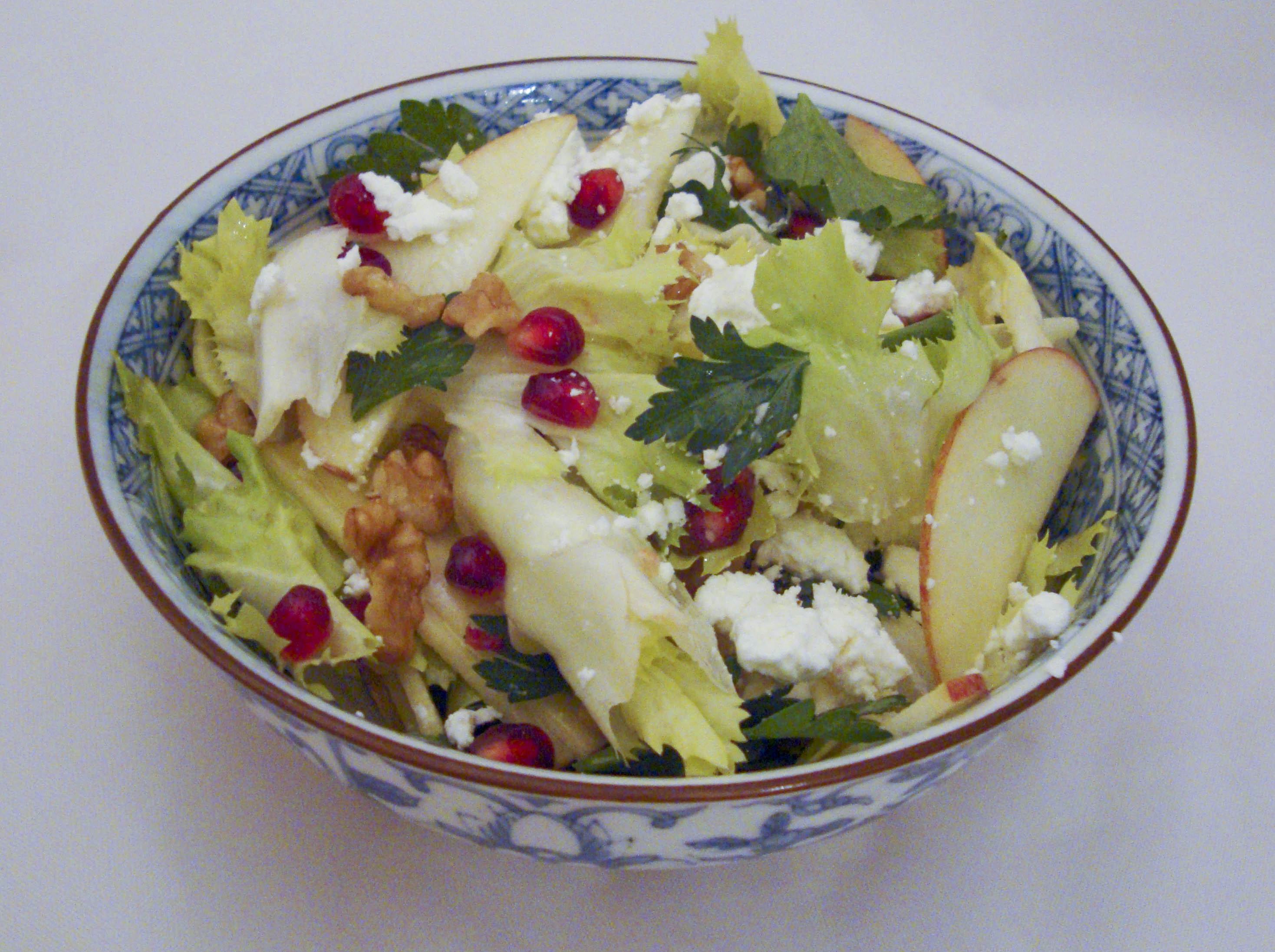 Escarole, Parsley and Apple Salad with Goat Cheese and Pomegranate