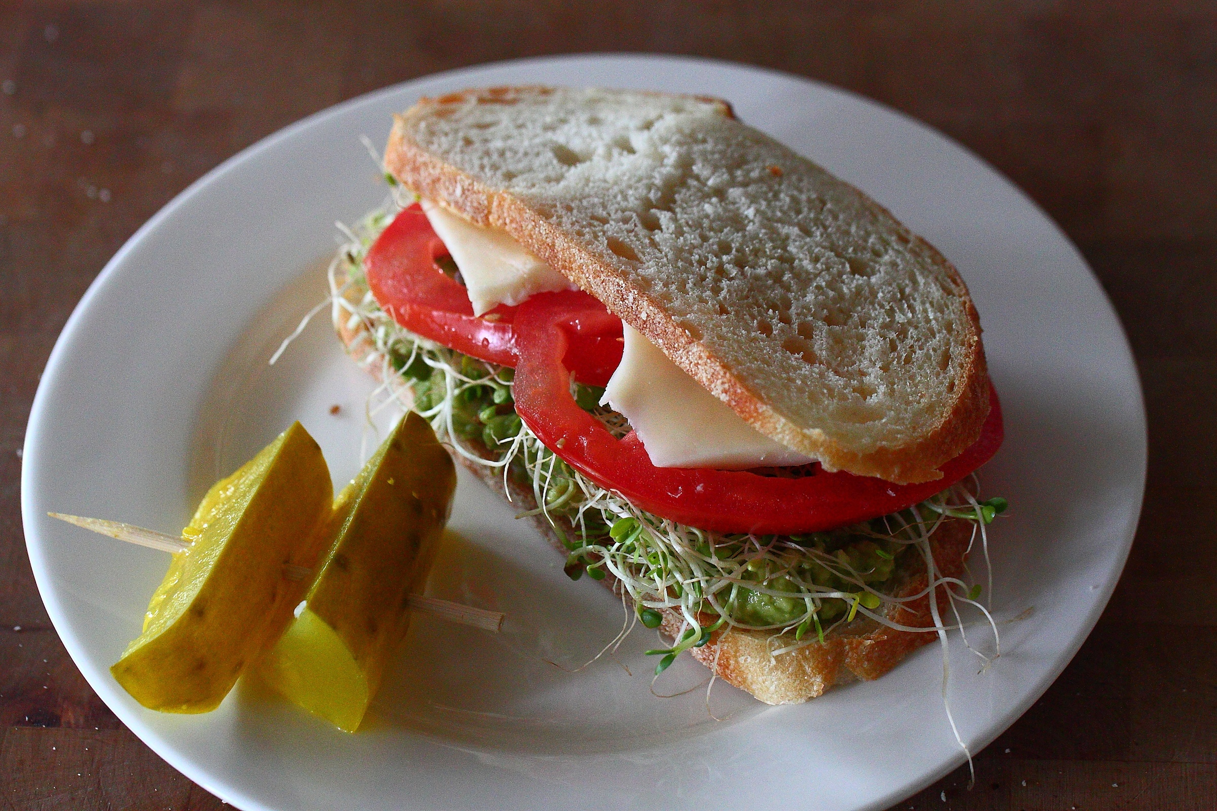 Salted Tomato and Avocado Sandwich with Spicy Aioli