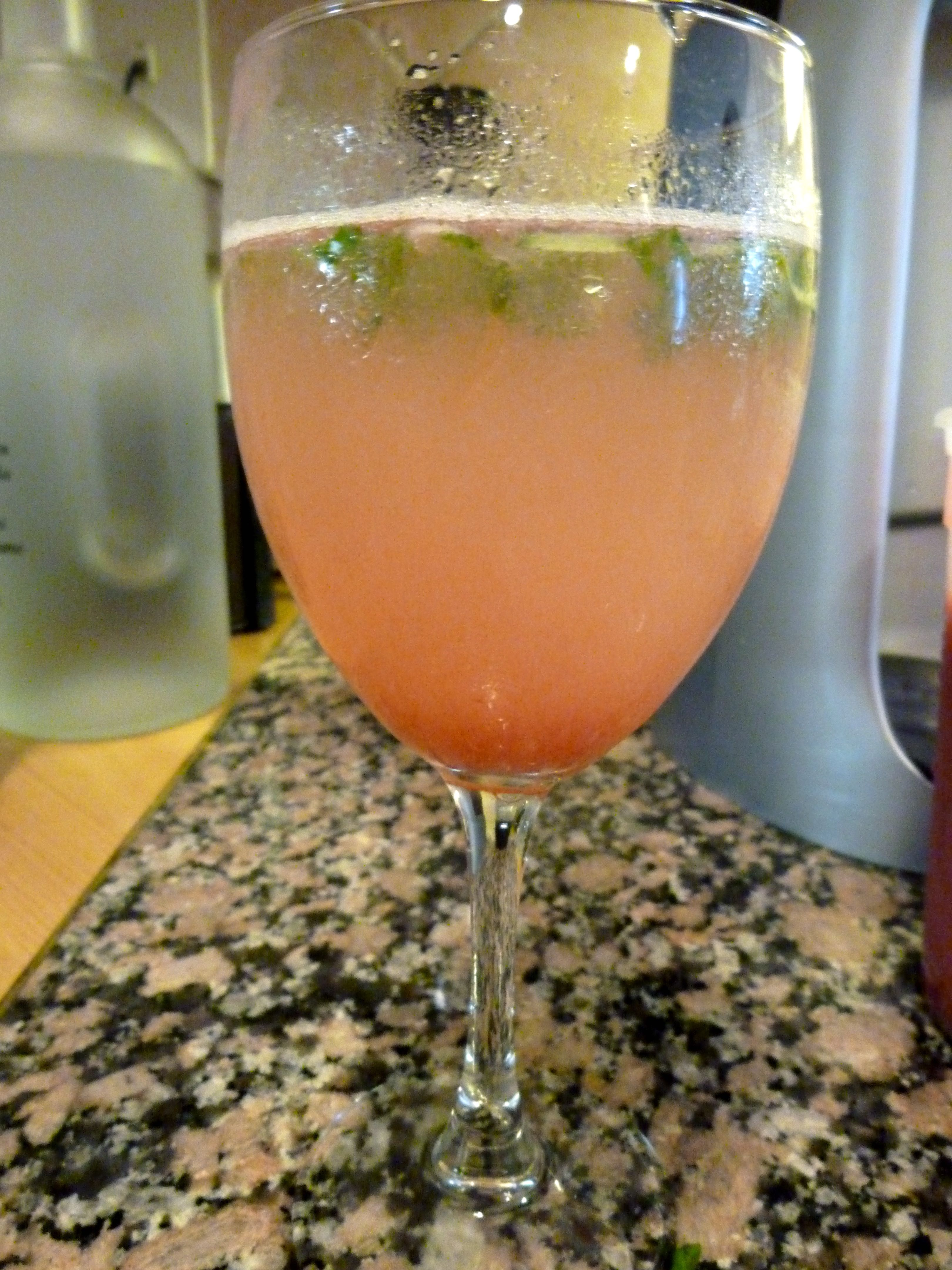 Rhubarb and Basil Spritzer