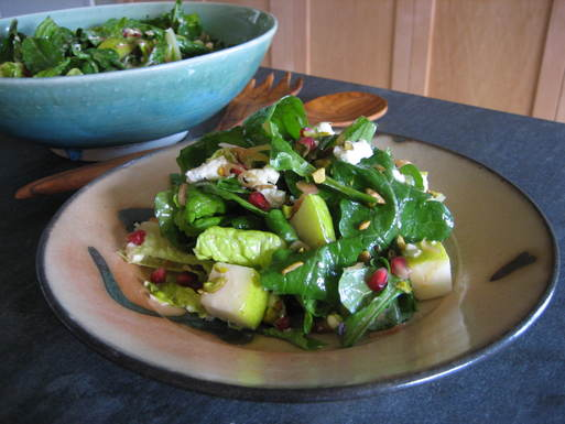 Arugula, Pear and Goat Cheese Salad with Pomegranate Vinaigrette