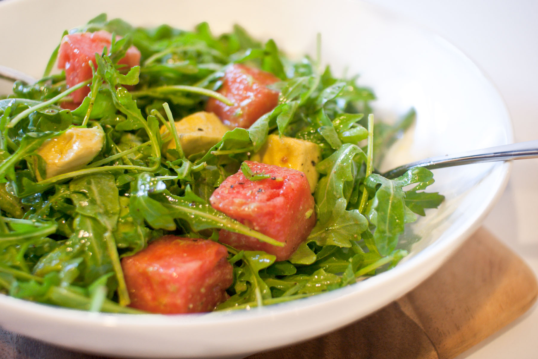 Arugula, Watermelon and Avocado Salad with Spicy Lime Vinaigrette