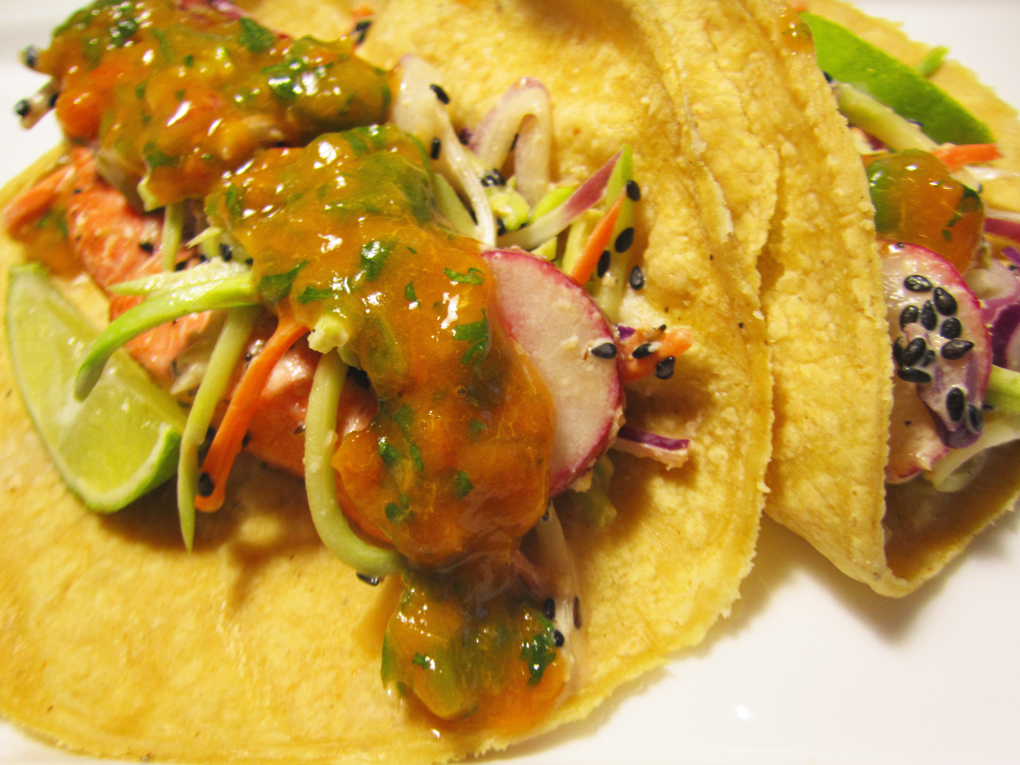 Salmon Tacos with Miso Broccoli Slaw and Apricot Salsa