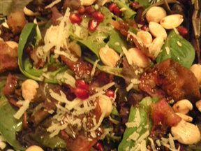 Mixed Greens with Maple Balsamic Vinaigrette with Marcona Almonds and Manchego