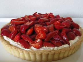 balsamic-macerated strawberry tart with whipped mascarpone filling