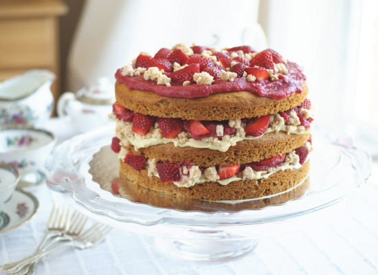 Strawberry Layer Cake with Pastry Cream Filling and &quot;White Chocolate&quot; Covered Cookie Crumbs, PART II