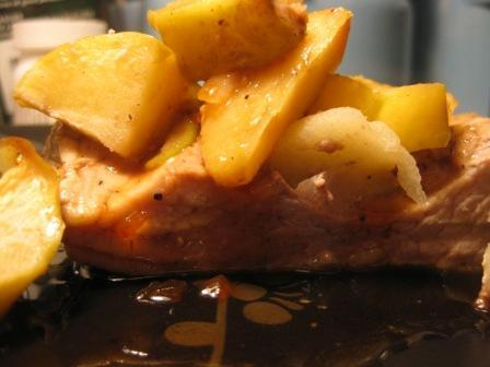 Apple Ginger Pork Loin with Caramel Sauce
