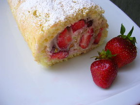 Strawberry-Ricotta Roulade with Pistachios