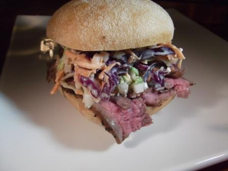 Grilled Steak Sandwich with Blue Cheese Cole Slaw