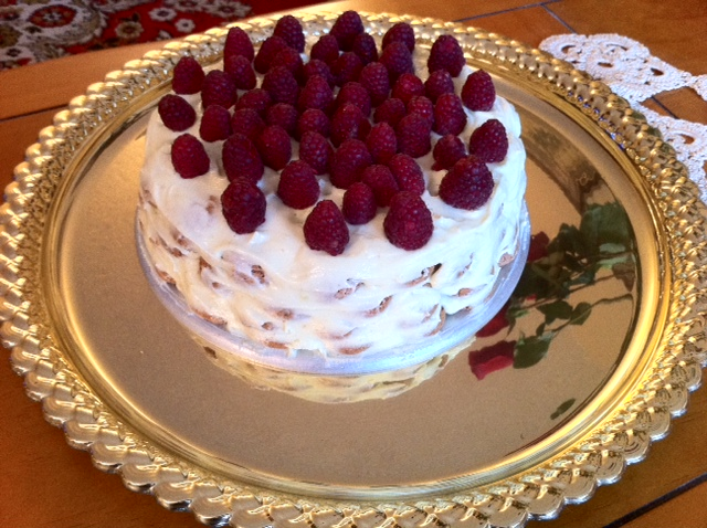 Lemon-Almond Frozen Torte with Raspberry Sauce.