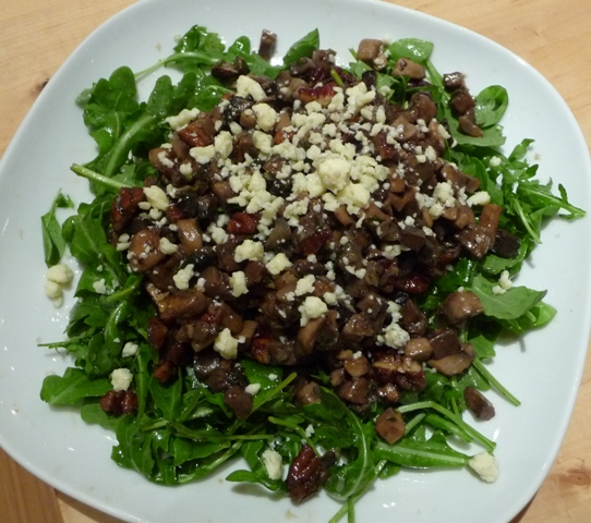 Warm Mushroom Salad with Gorgonzola and Peacns