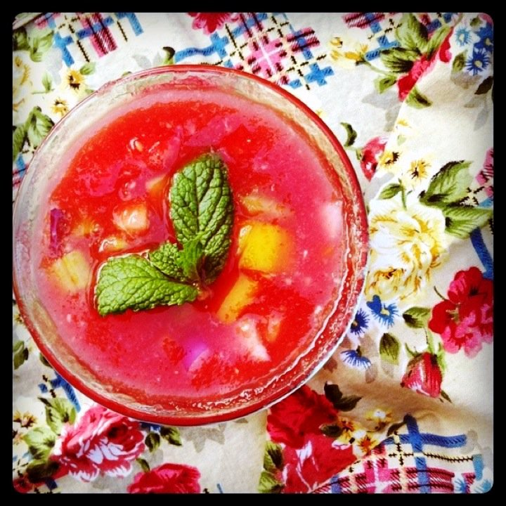 """Pretty in Pink"" Watermelon Gazpacho"