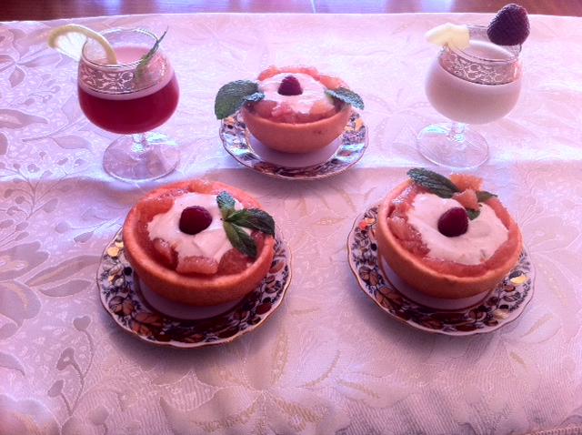 Gingered Grapefruit Baskets Filled with Coconut-Lime Cream and Two Virgin Cocktails.
