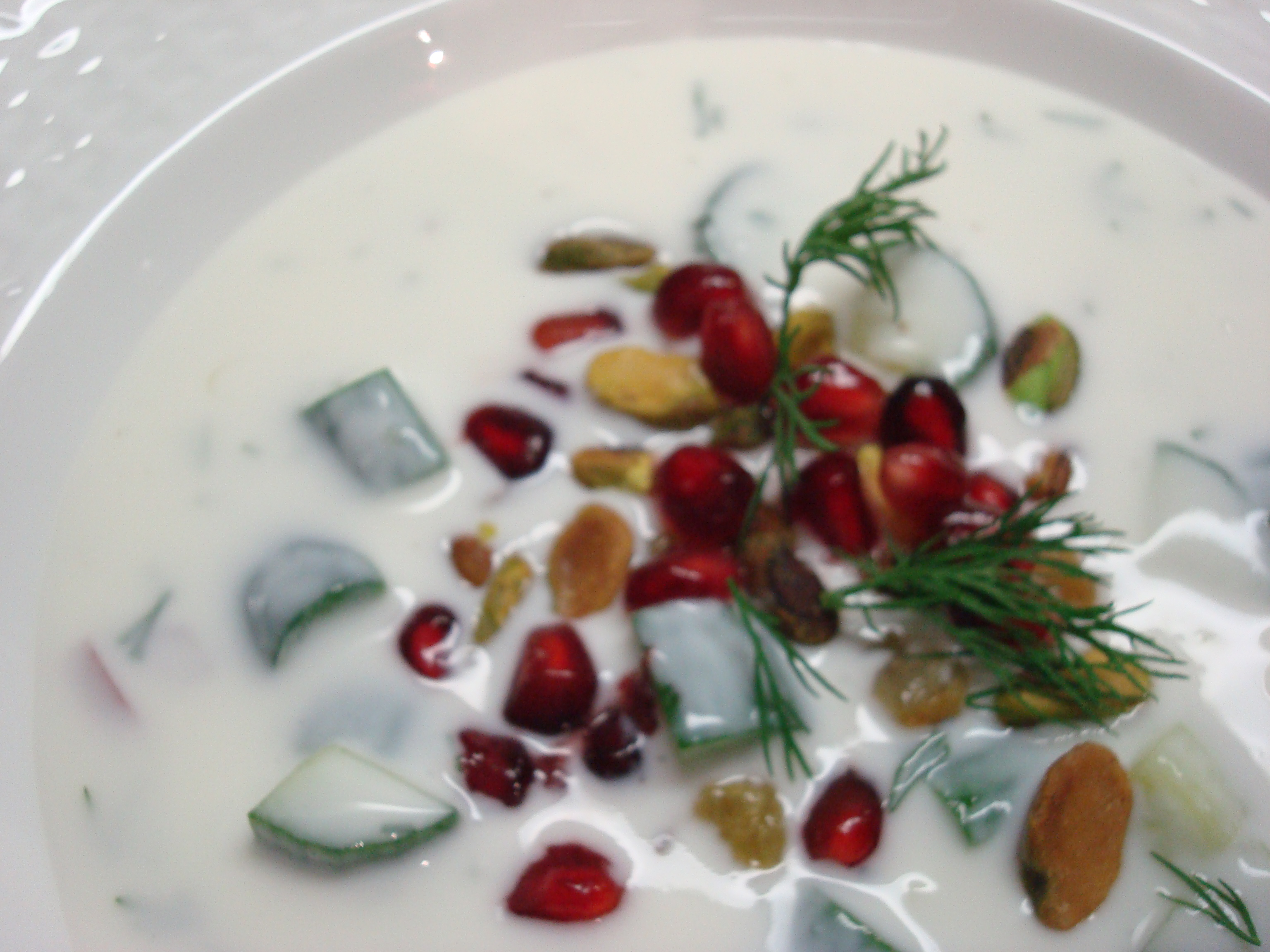 Chilled Persian Yogurt and Cucumber Soup with Pistachio and Pomegranate