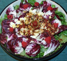 Spinach Salad with Bitter Herbs and Raspberry Vinaigrette