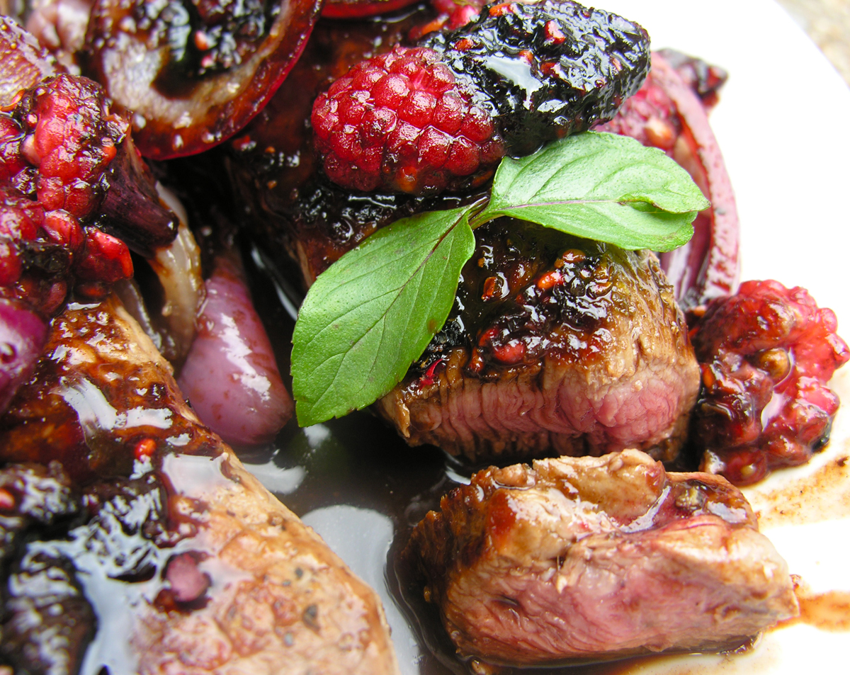 Raspberries and steak