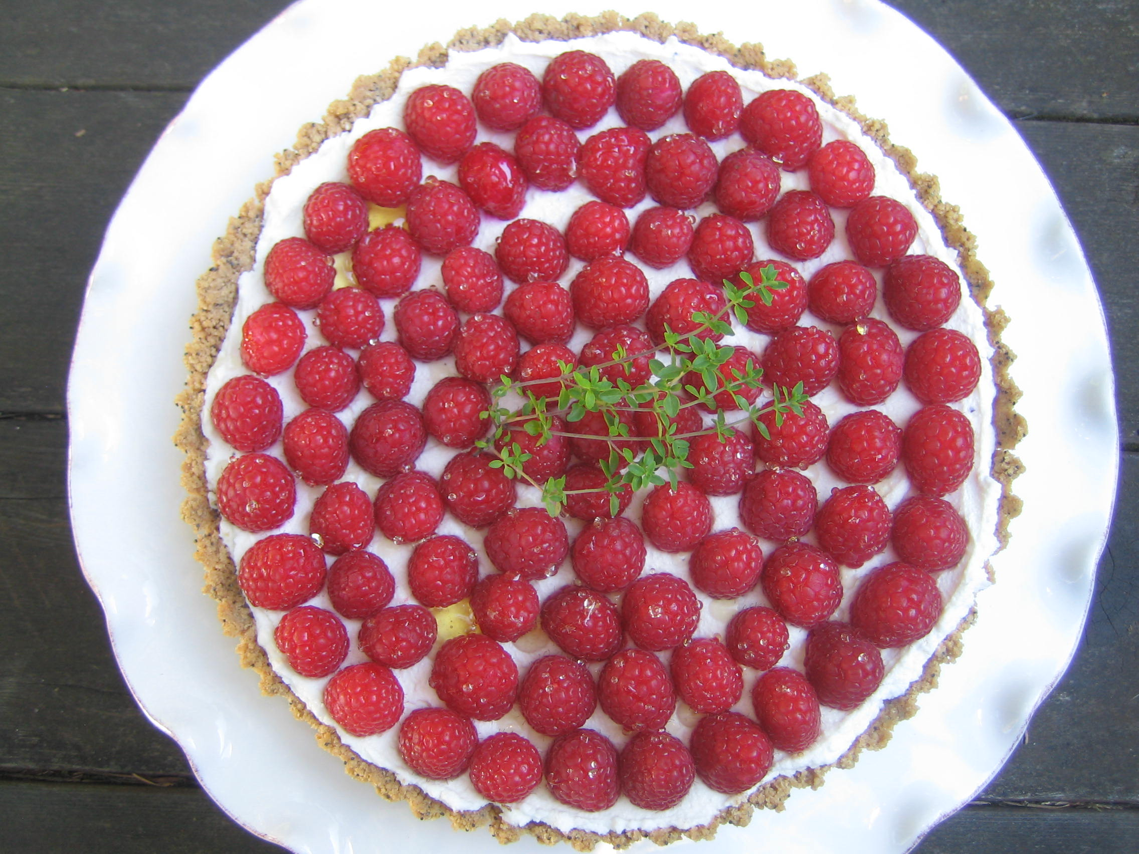 Raspberry Chevre Tart with Poppyseed Shortcrust
