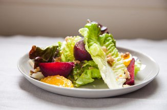 Red Leaf Salad with Roasted Beets, Oranges and Walnuts